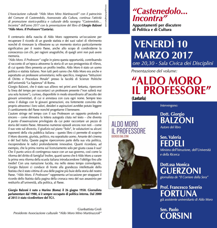 Venerdì 10 marzo 2017 ore 20,30 presentazione libro Aldo Moro, il Professore.